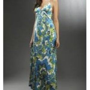 Julie Brown 100% Silk Crossback Retro Maxi Dress